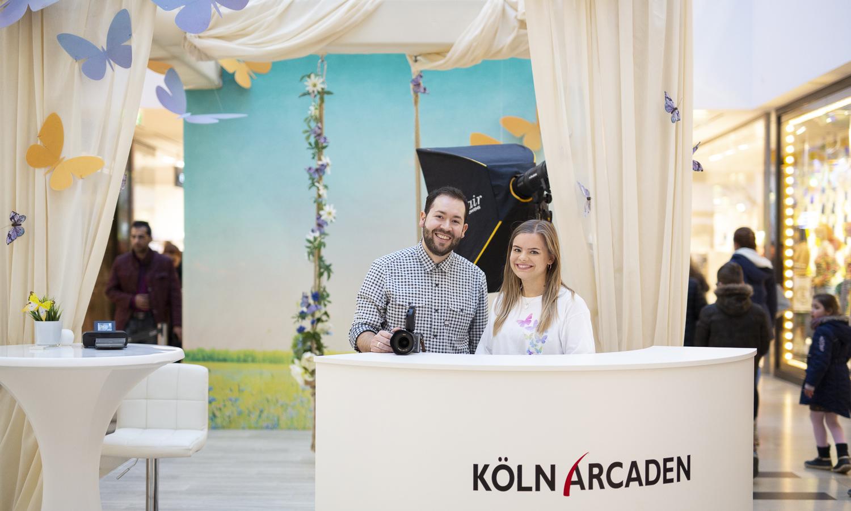 Foto-Aktion mit Fotodrucker in den Köln Arcaden (Shopping-Mall)