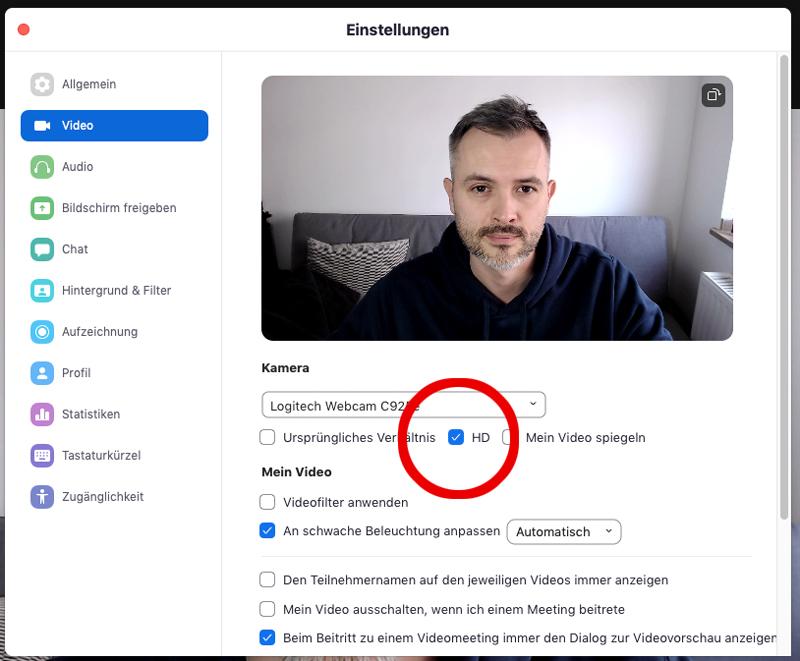 Zoom Videoqualität verbessern / HD Webcam aktivieren